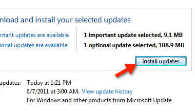 Screenshot of Install Updates in Windows 7