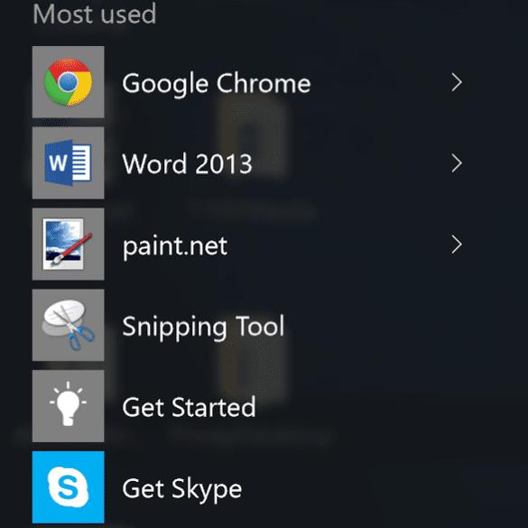 Most used menu in windows 10