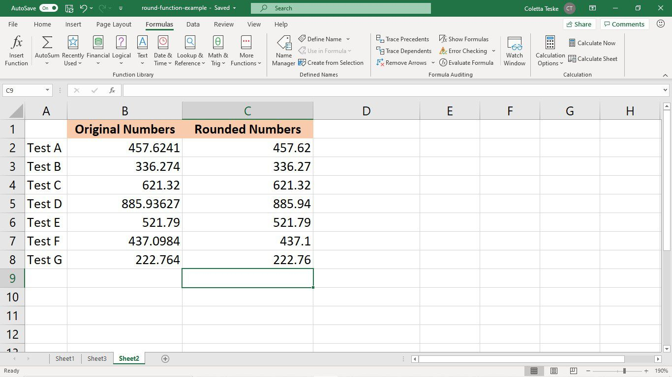 A single ROUND formula is copied to all cells in a column