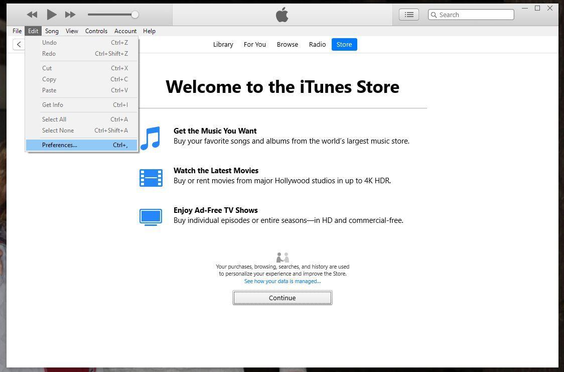 Preferences in iTunes Edit menu.