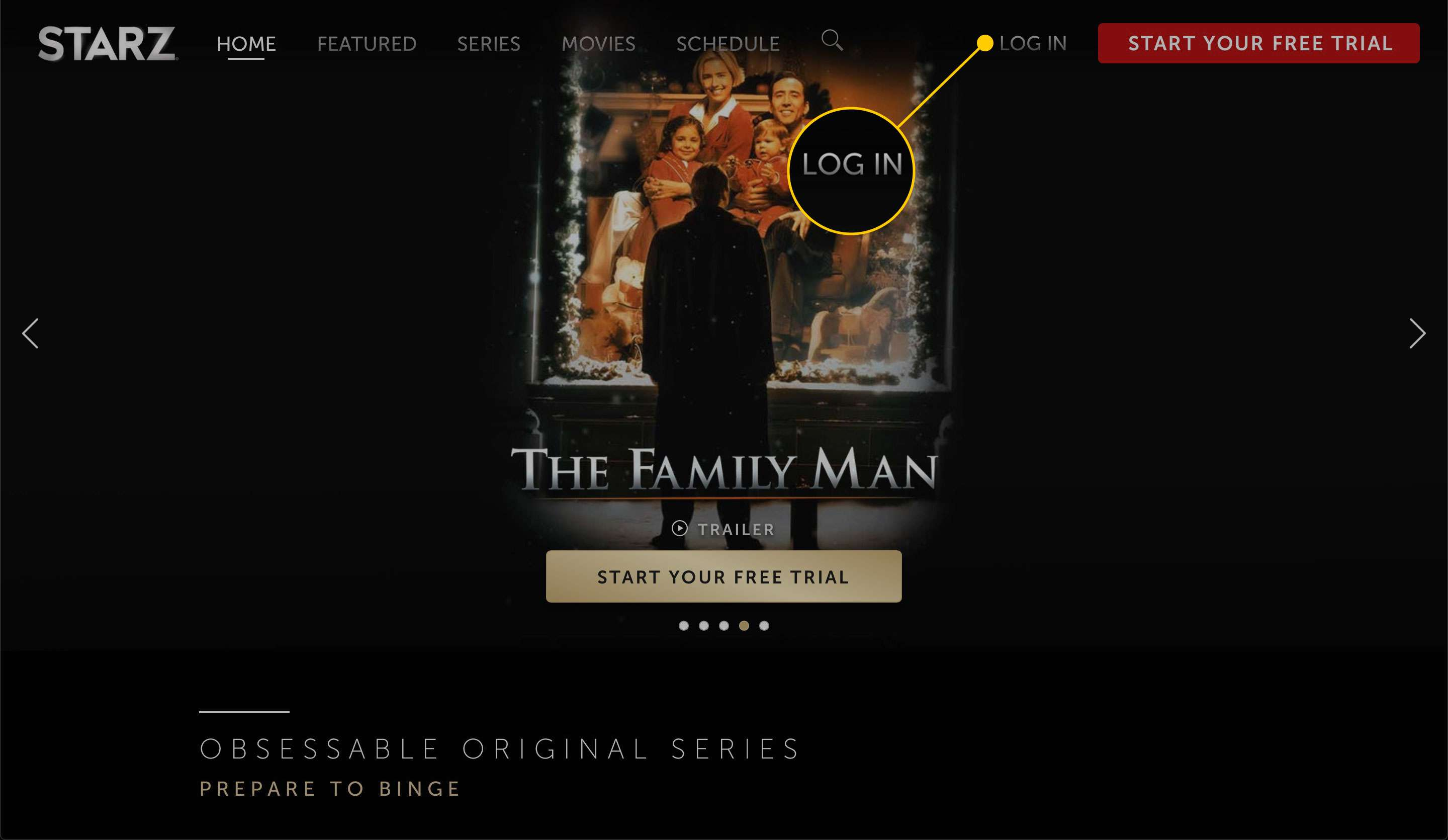 Starz home page with the Log In button highlighted