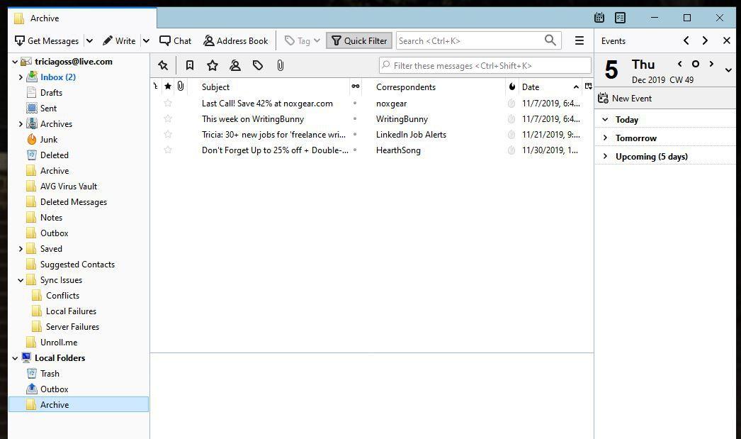 Screenshot of Archive folder