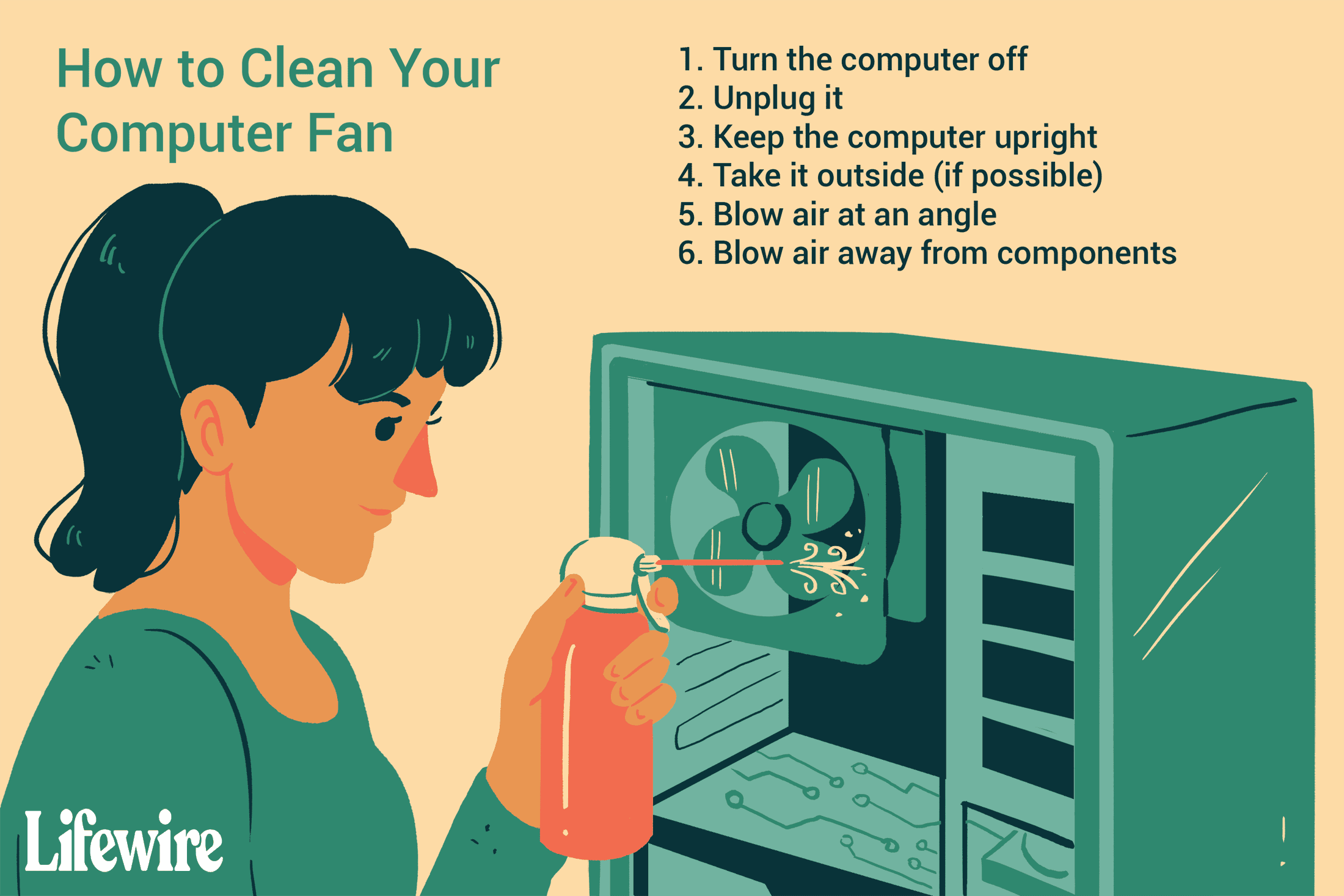 An illustration of a woman cleaning a computer fan with canned air.