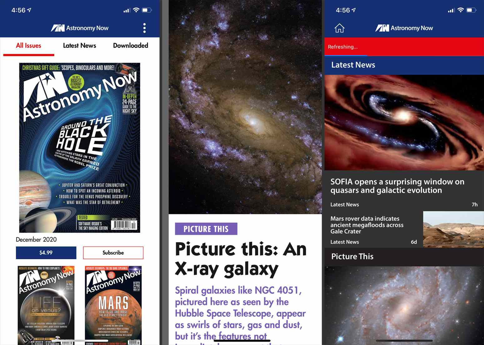 Screenshots from the Astronomy Now app.