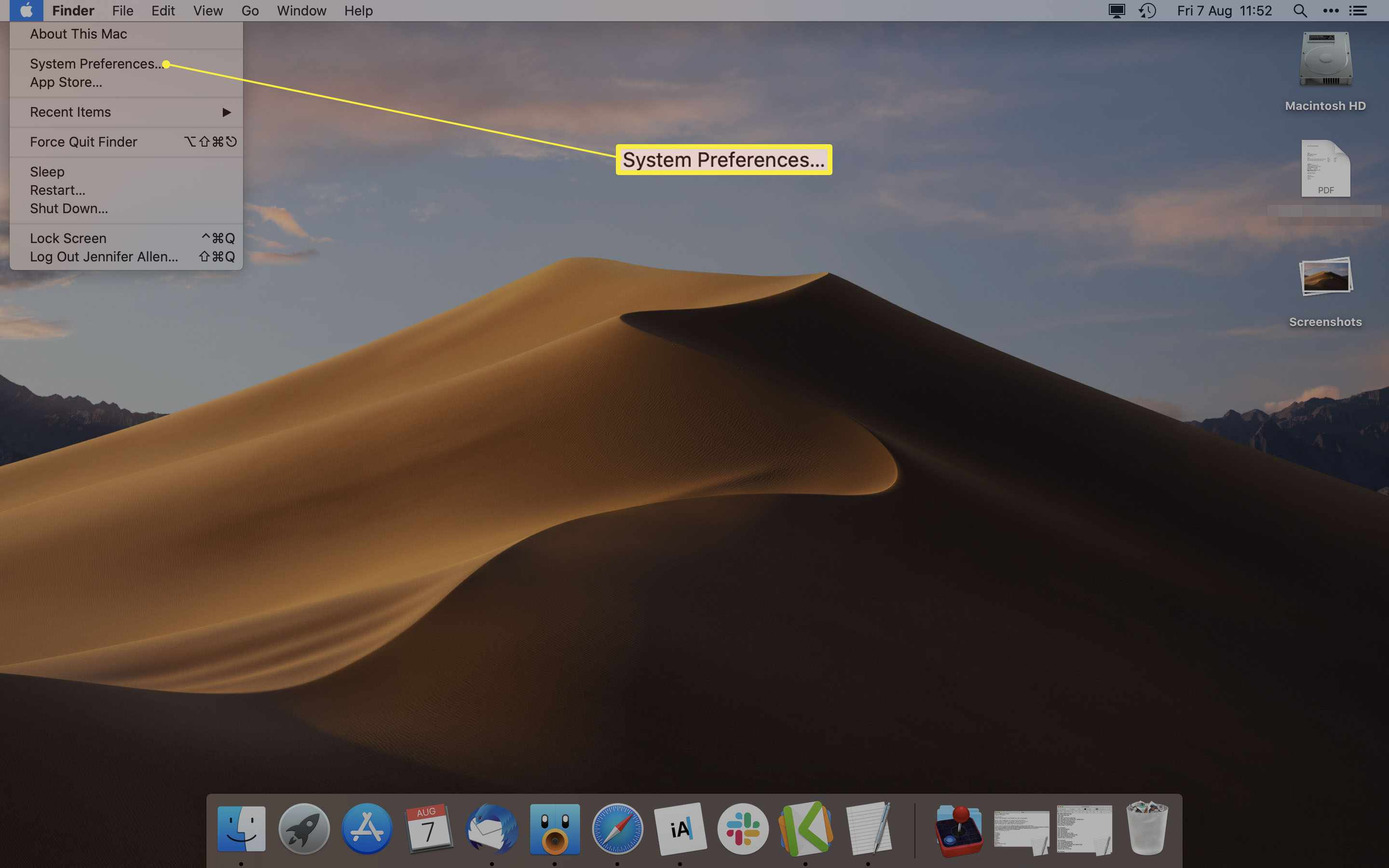 Mac desktop with System Preferences highlighted