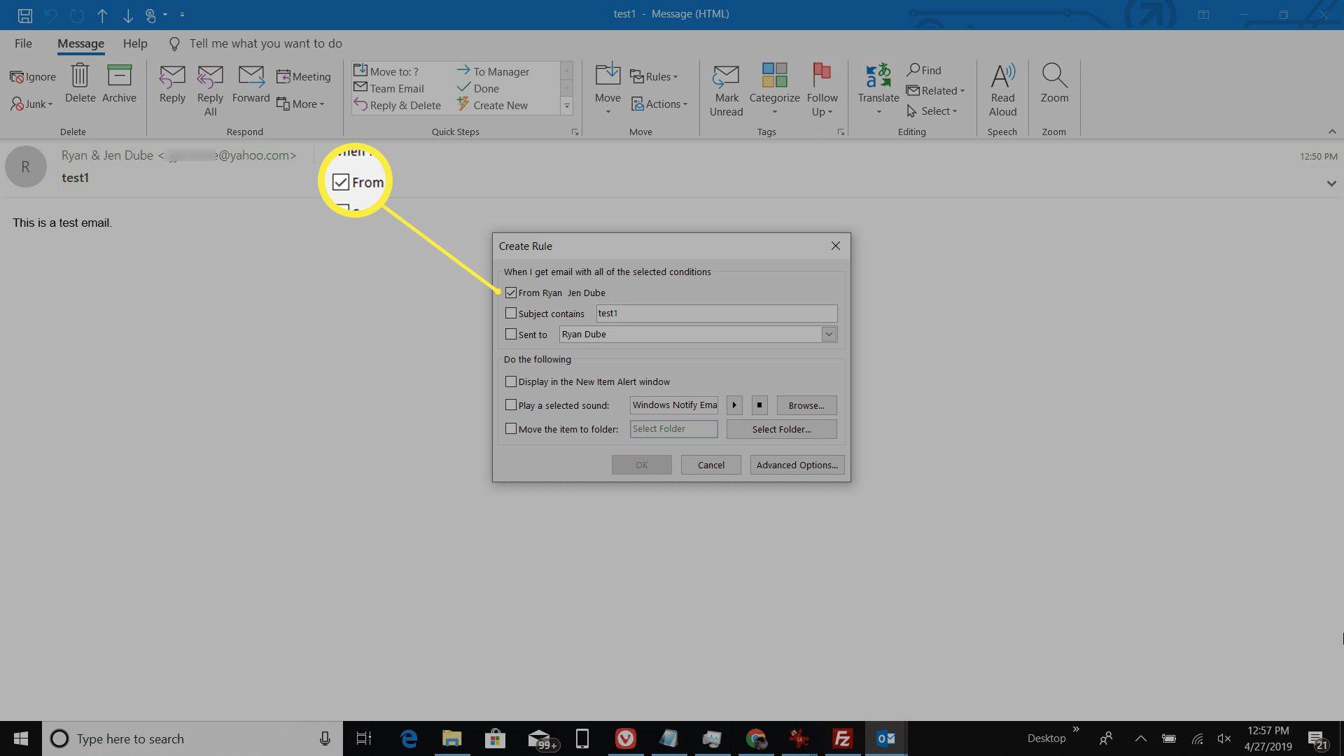 Screenshot of create rule from sender in Outlook.