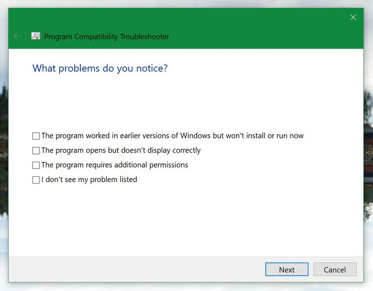 Windows 10 Compatibility Mode Troubleshooter