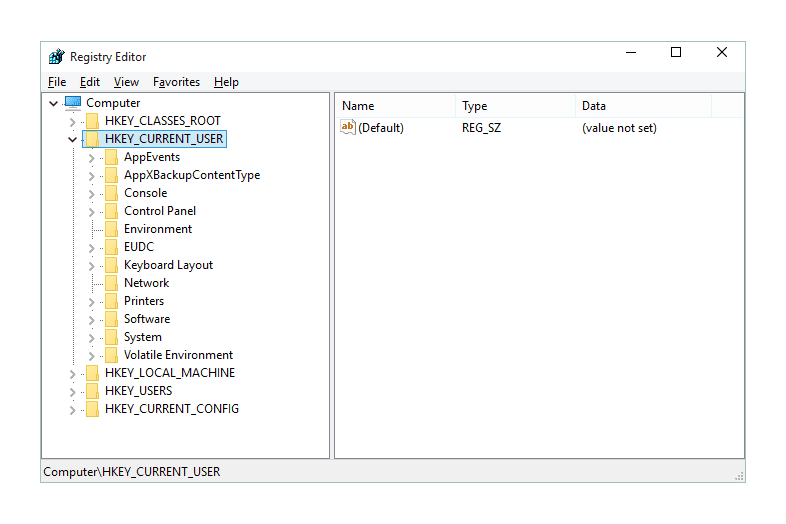 HKEY_CURRENT_USER Registry Hive in Windows 10.
