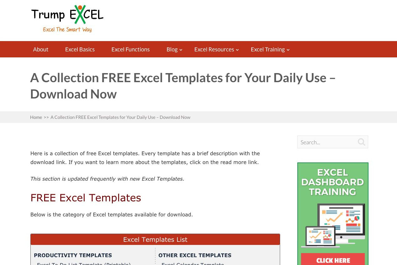 hundreds of free excel templates