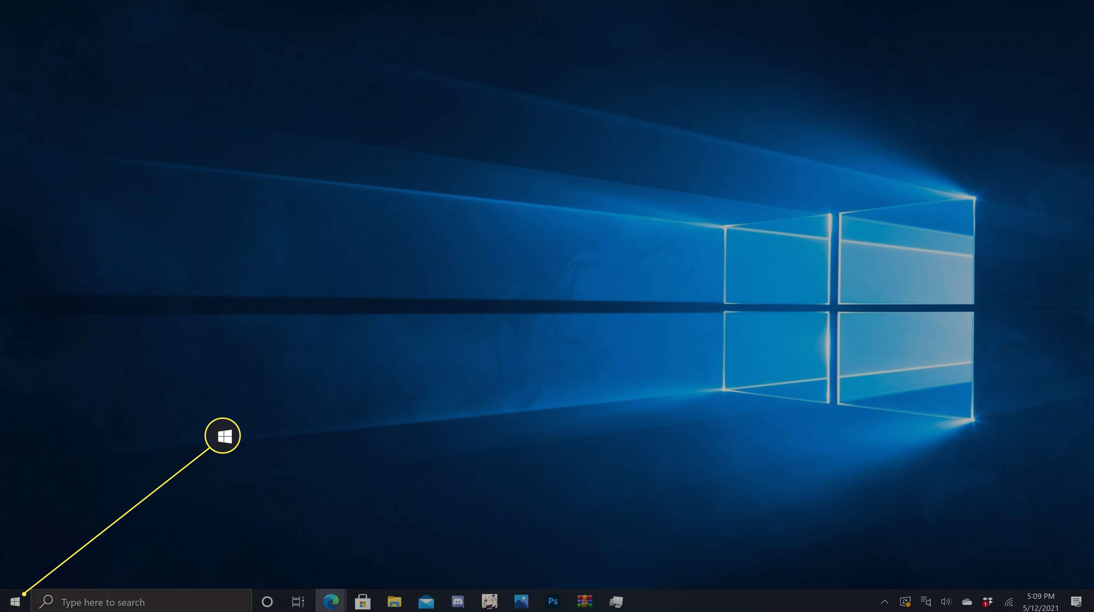 Start Menu (windows icon) highlighted on the Windows 10 taskbar.