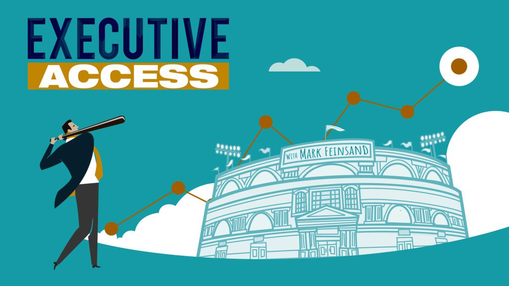 Executive Access podcast logo featuring a businessperson with a baseball bat