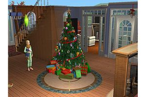 Waiting for Santa Clause by the Christmas tree in Sims 2 screenshot