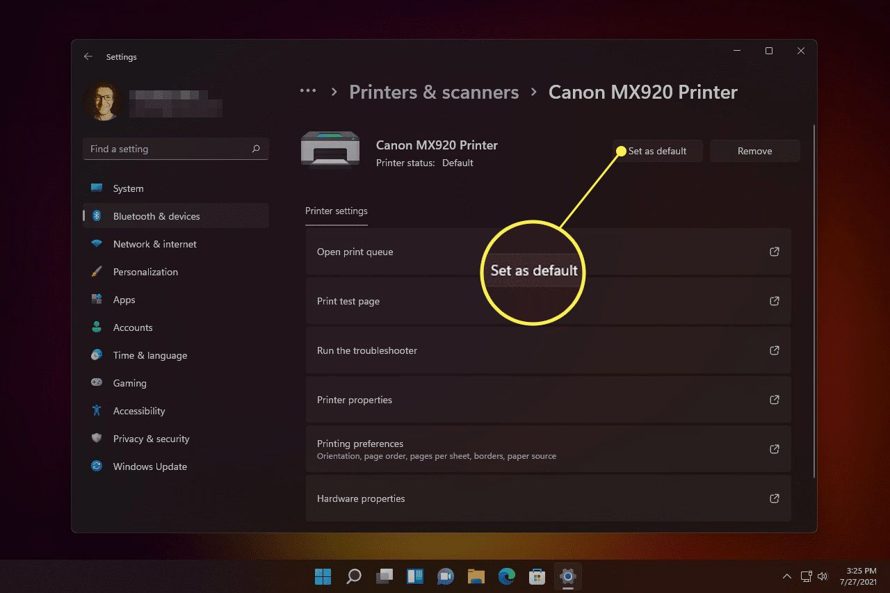 Set as default printer button highlighted in Printer settings