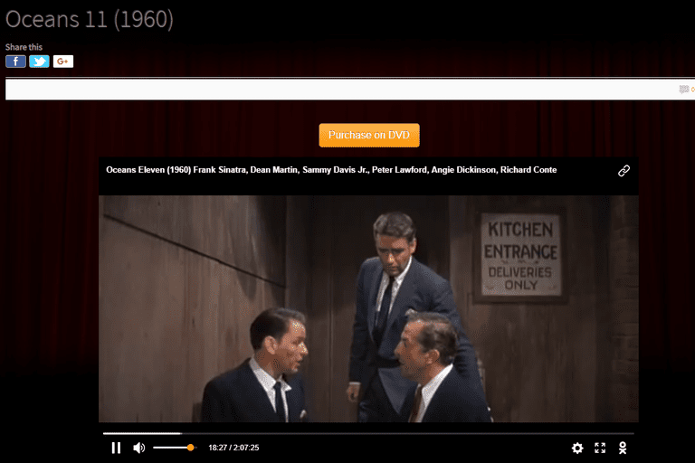 Screenshot of the free movie Oceans 11 at Classic Cinema Online