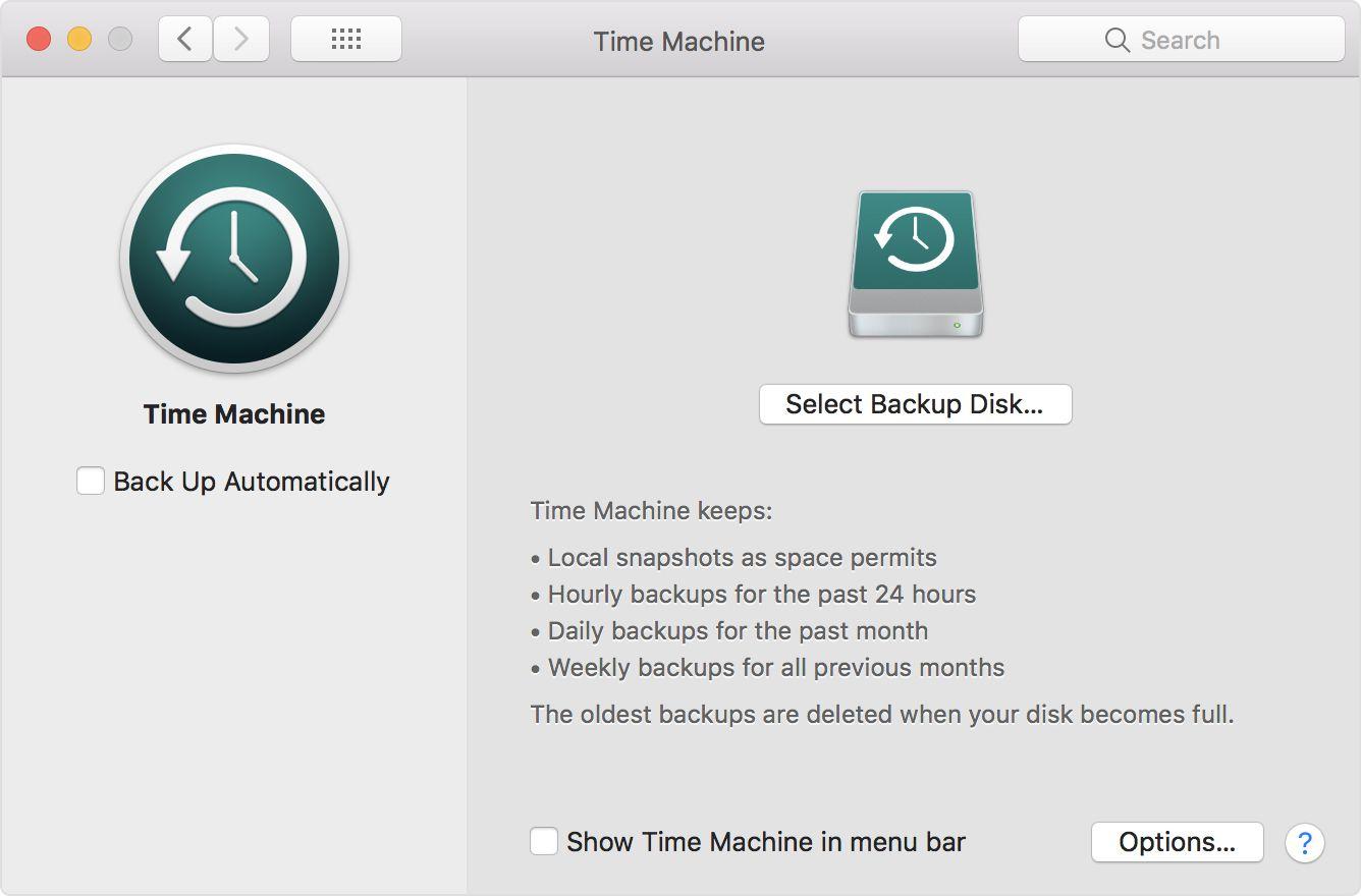 A screenshot of Time Machine's settings
