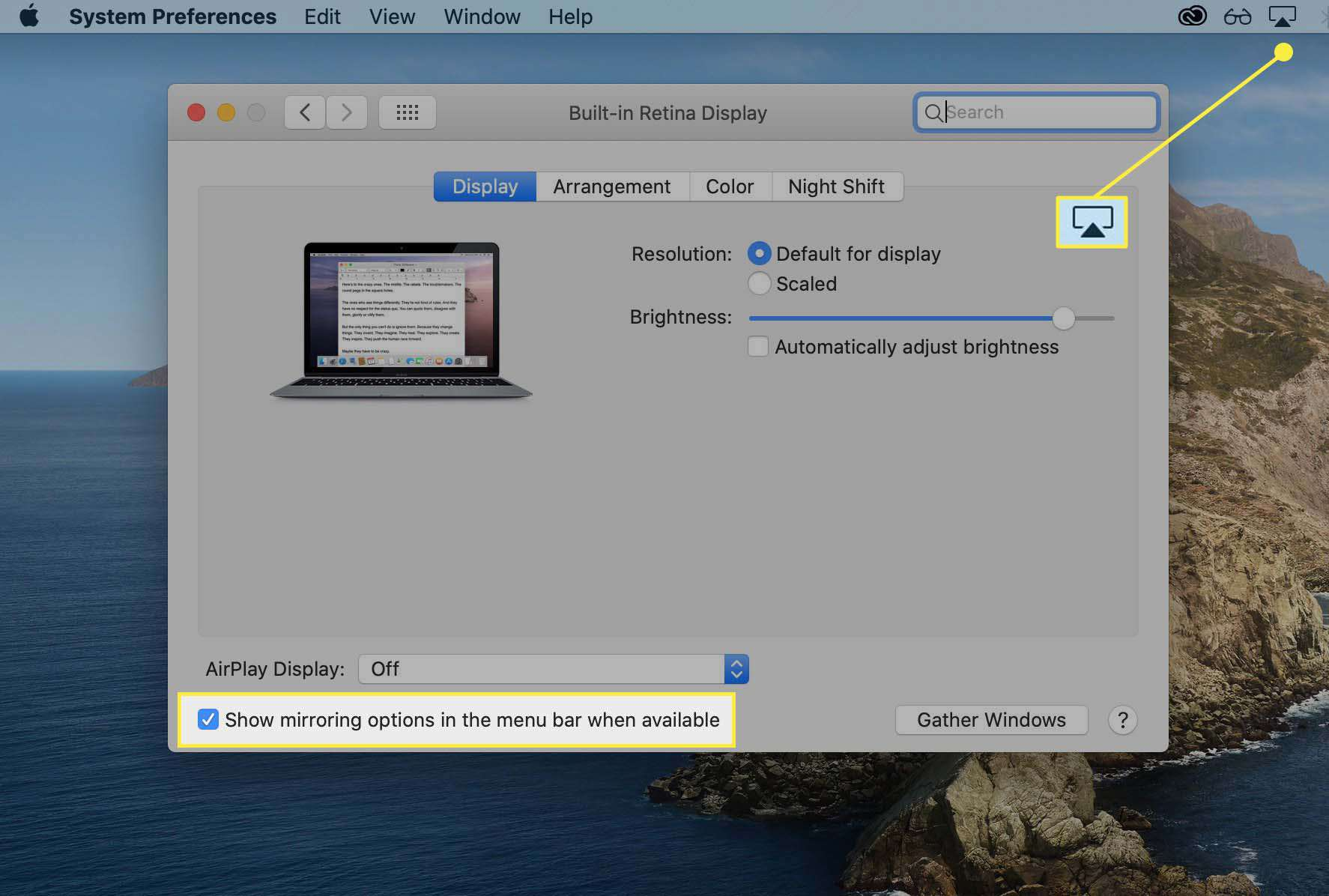 The AirPlay icon in the menu bar and the mirroring checkbox highlighted in Displays System Preferences on macOS.