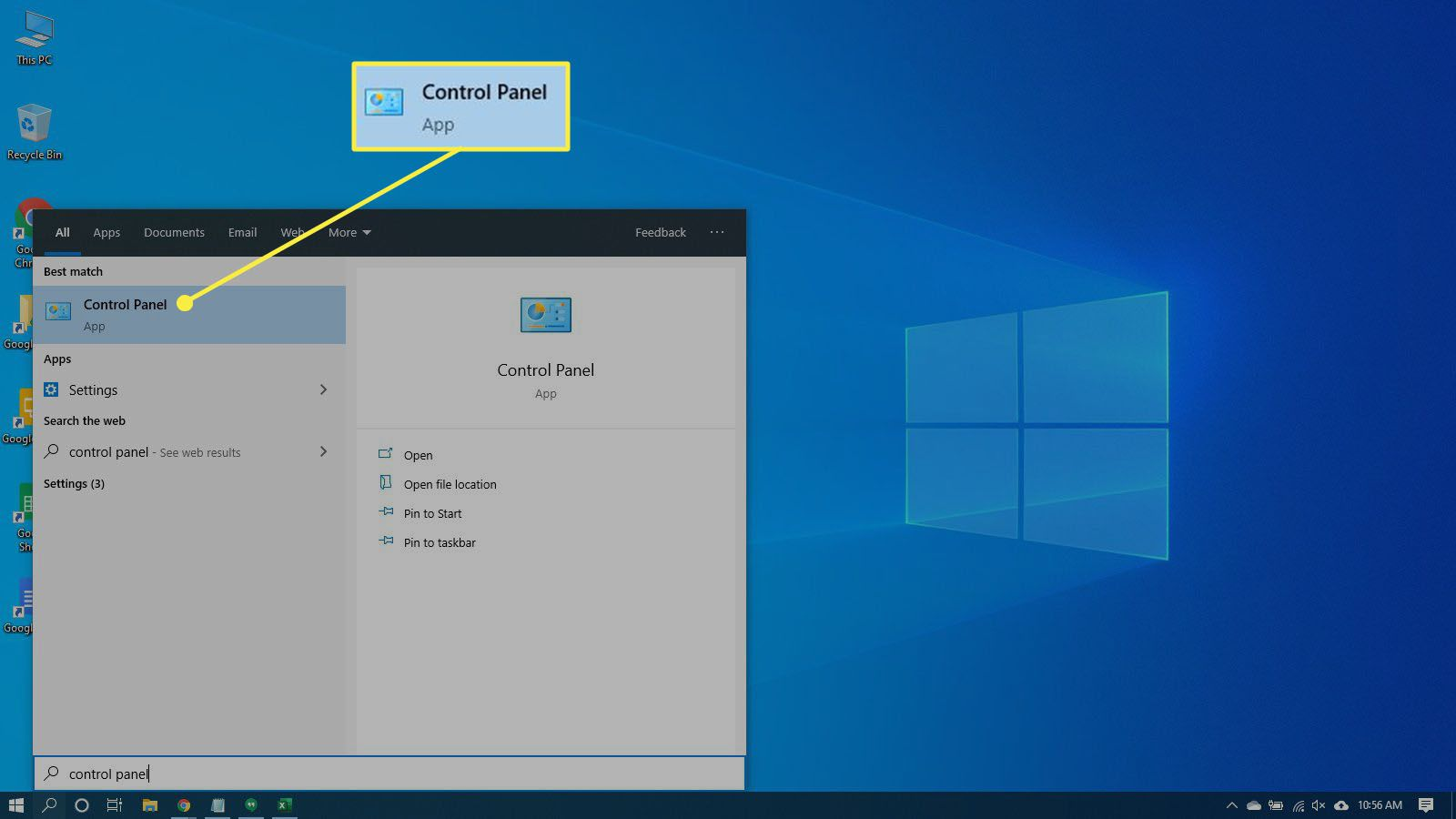 Searching for the Control Panel App in Windows 10.