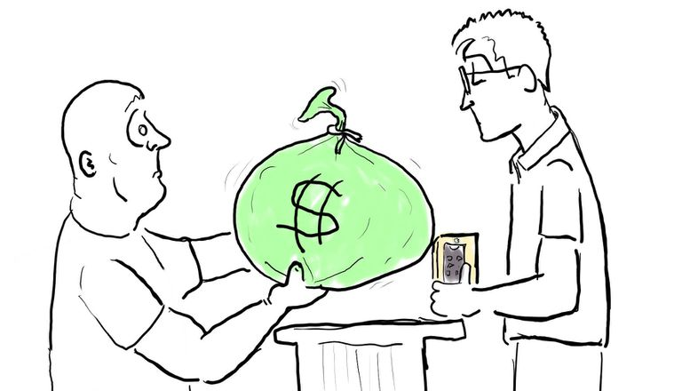 Illustration of a man holding out a large bag of money to a retail clerk holding a Google phone