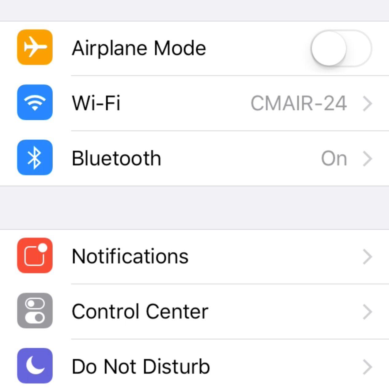 Screenshot of iOS Setting screen