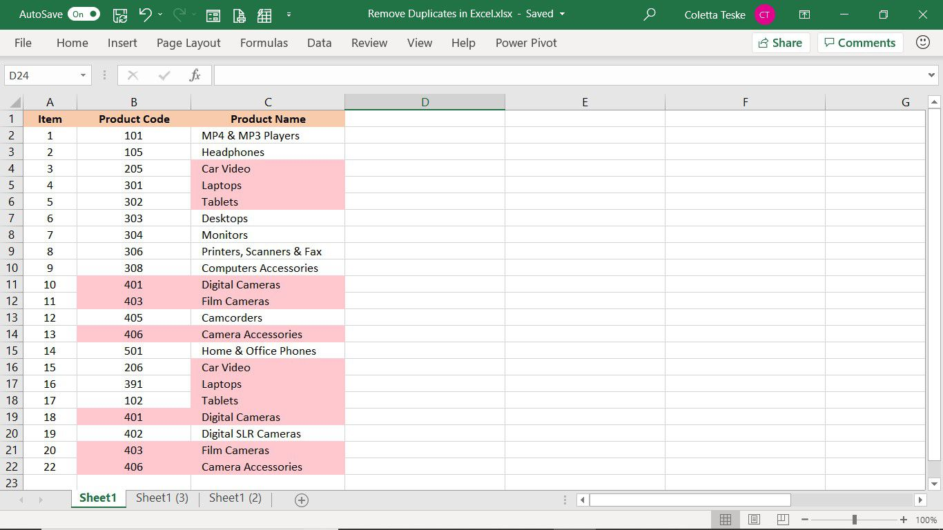 Result of the Remove Duplicates tool in Excel