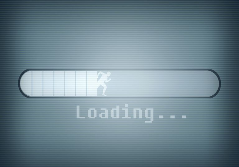 A computer message showing a loading bar and a silhouetted man running