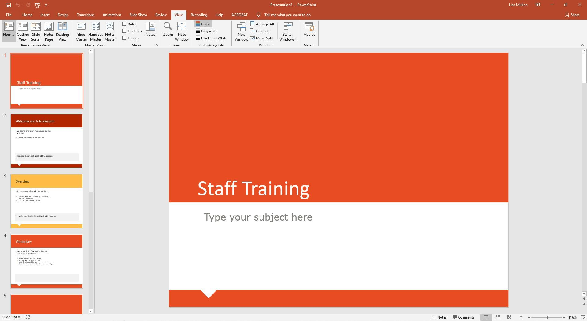 PowerPoint View tab