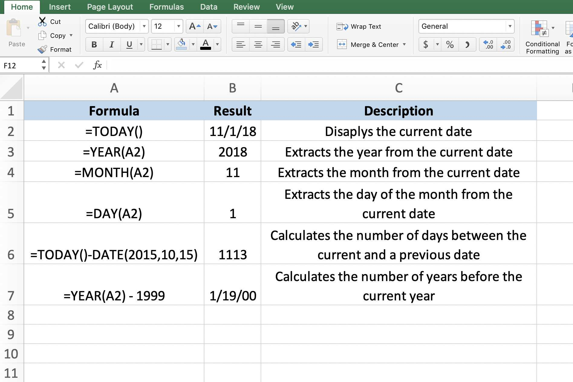 Use Today's Date within Worksheet Calculations in Excel