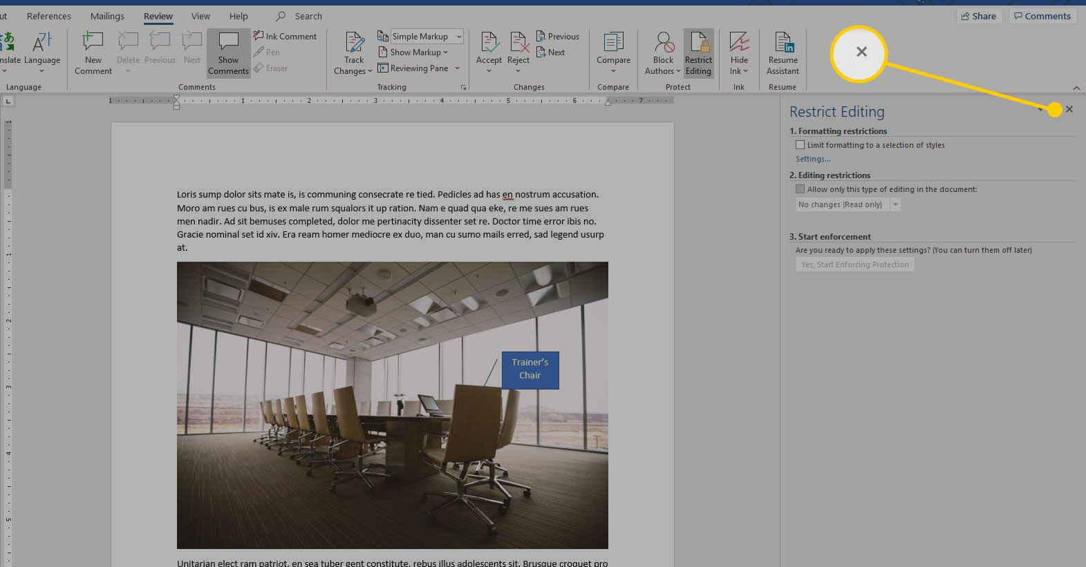 Restrict Editing menu in Word with the X highlighted