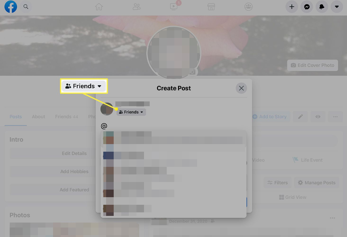 Audience selector in the Create Post window of Facebook
