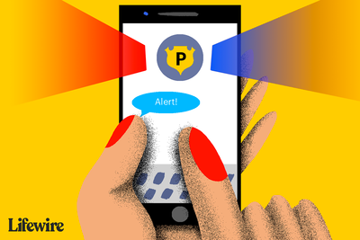 Illustration of a person tapping on a phone with a police badge and