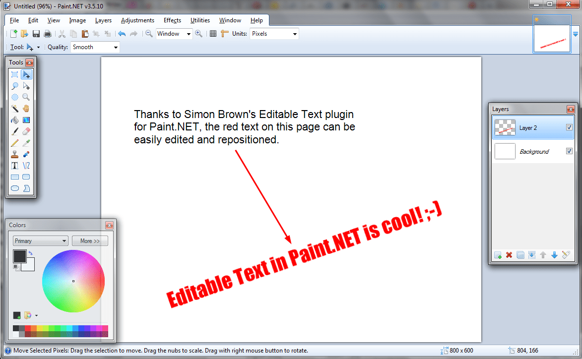 adding editable text to paintnet