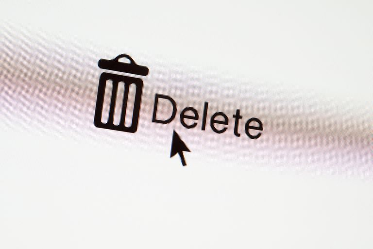 An image of a Delete button accompanied by a garbage can icon and mouse pointer.