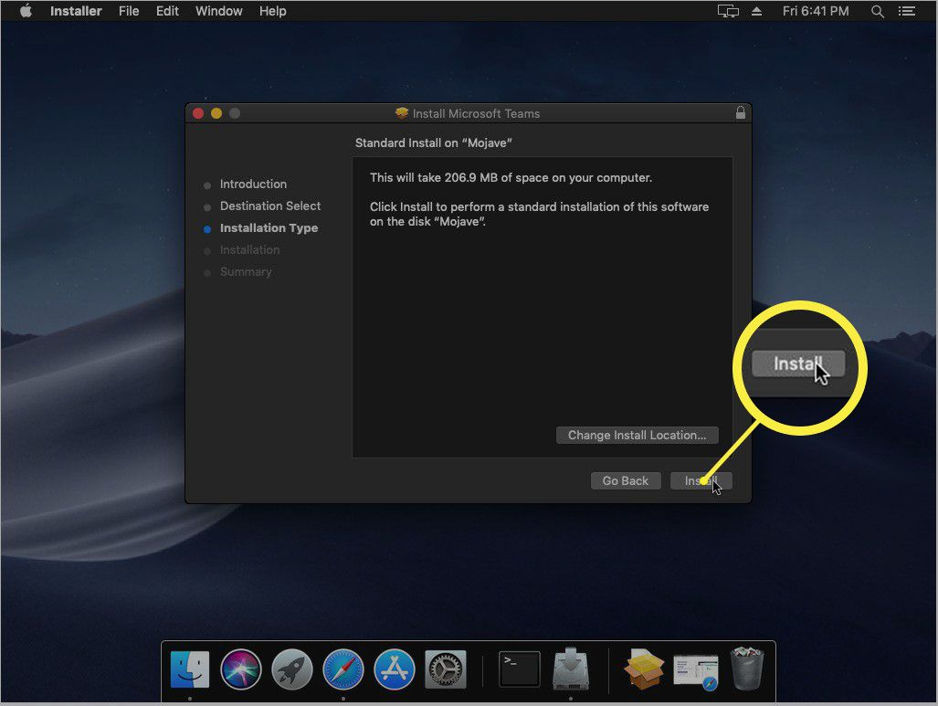 A screenshot showing how to choose an Install Location in the Teams Installer.