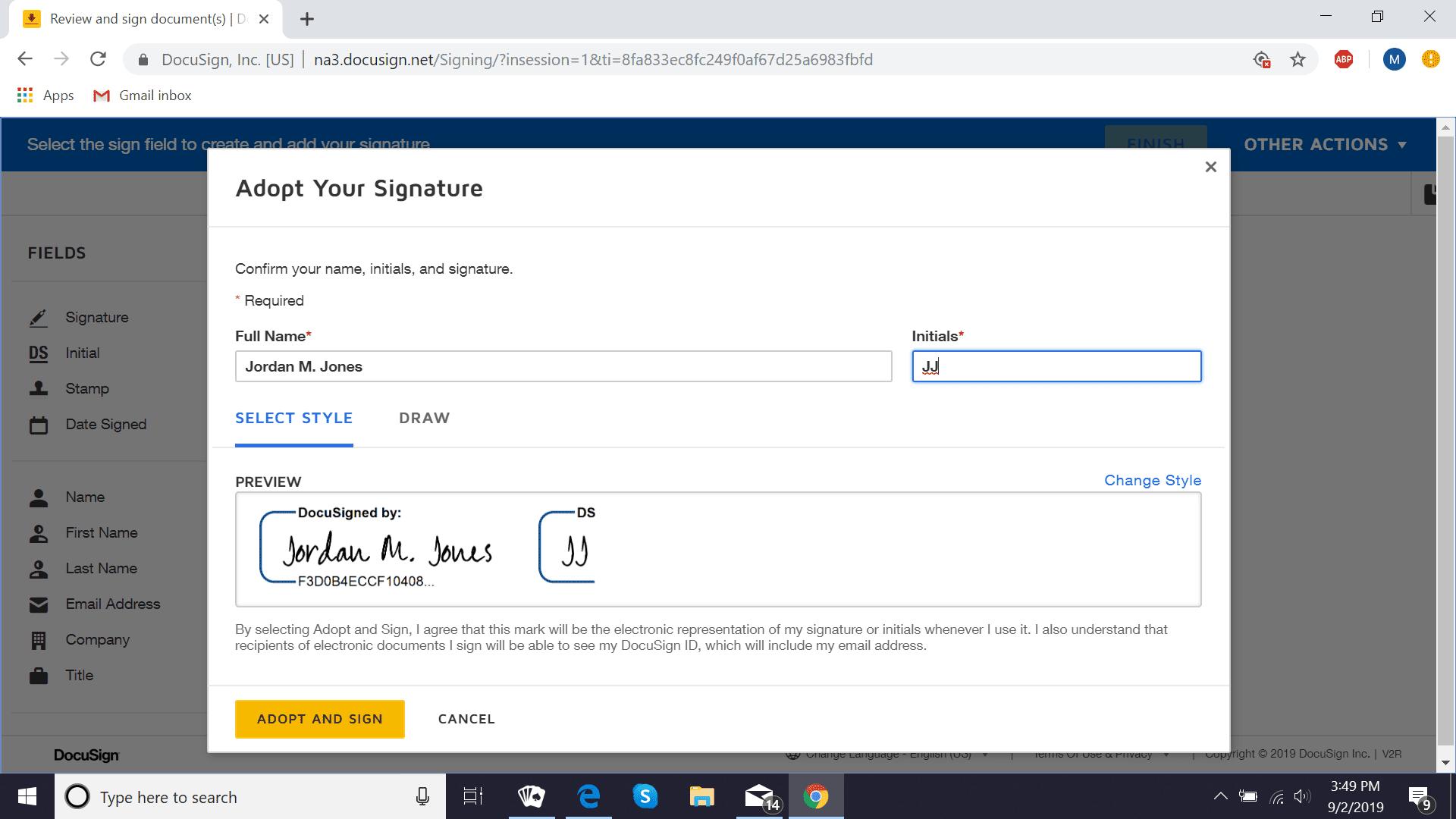 DocuSign create signature