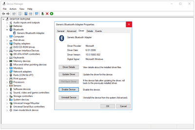 Screenshot showing how to enable a disabled device in Device Manager in Windows 10