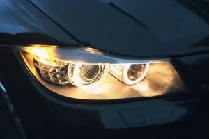 Projector headlights illuminated by halo rings.