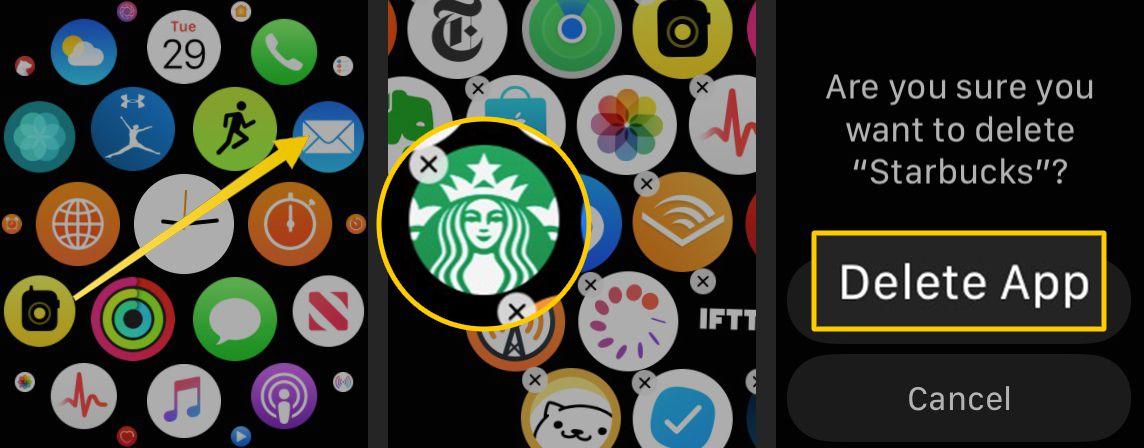 Swipe, X icon on an app, Delete App on Apple Watch