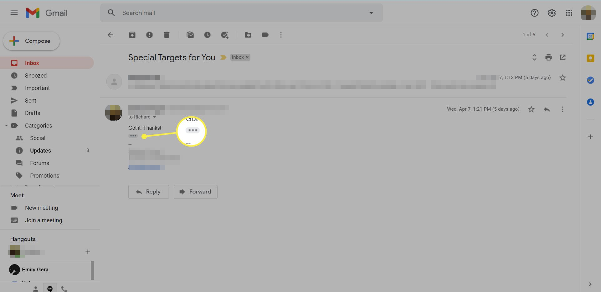 A Gmail message with the 'Show trimmed content' icon highlighted