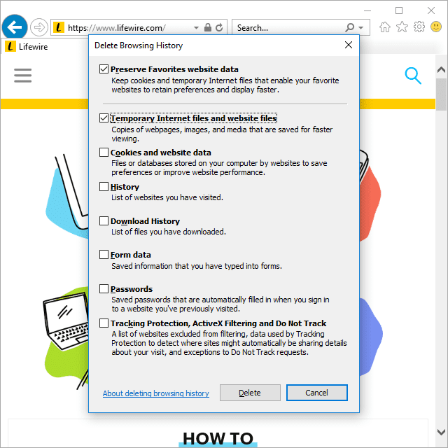Screenshot showing how to clear the cache in Internet Explorer in Windows 10
