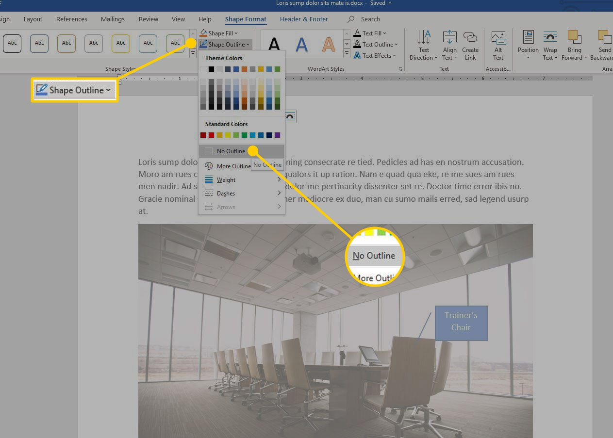 Shape Outline menu in Word with the No Outline option highlighted