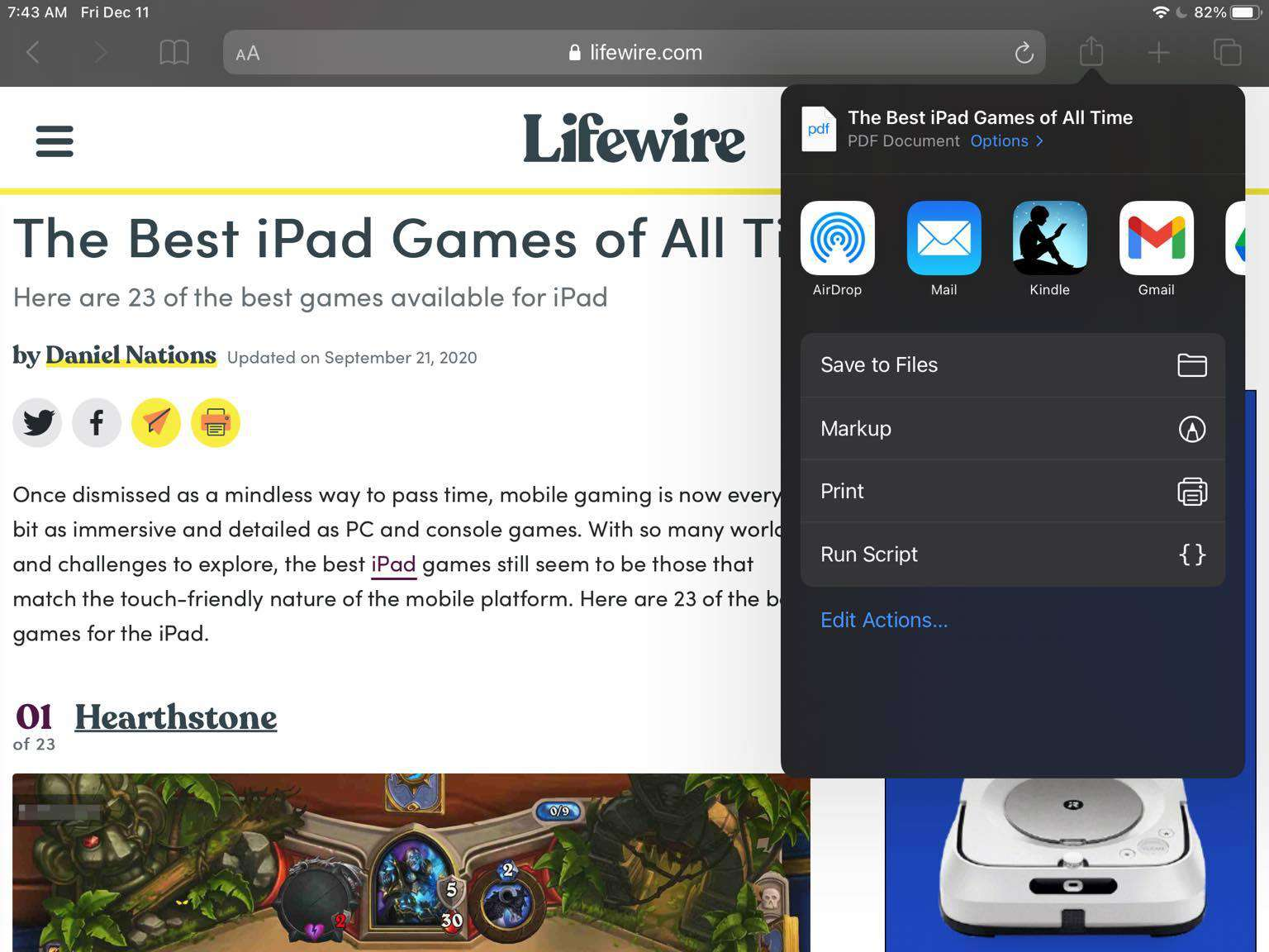 Screenshot of the iPad PDF sharing options