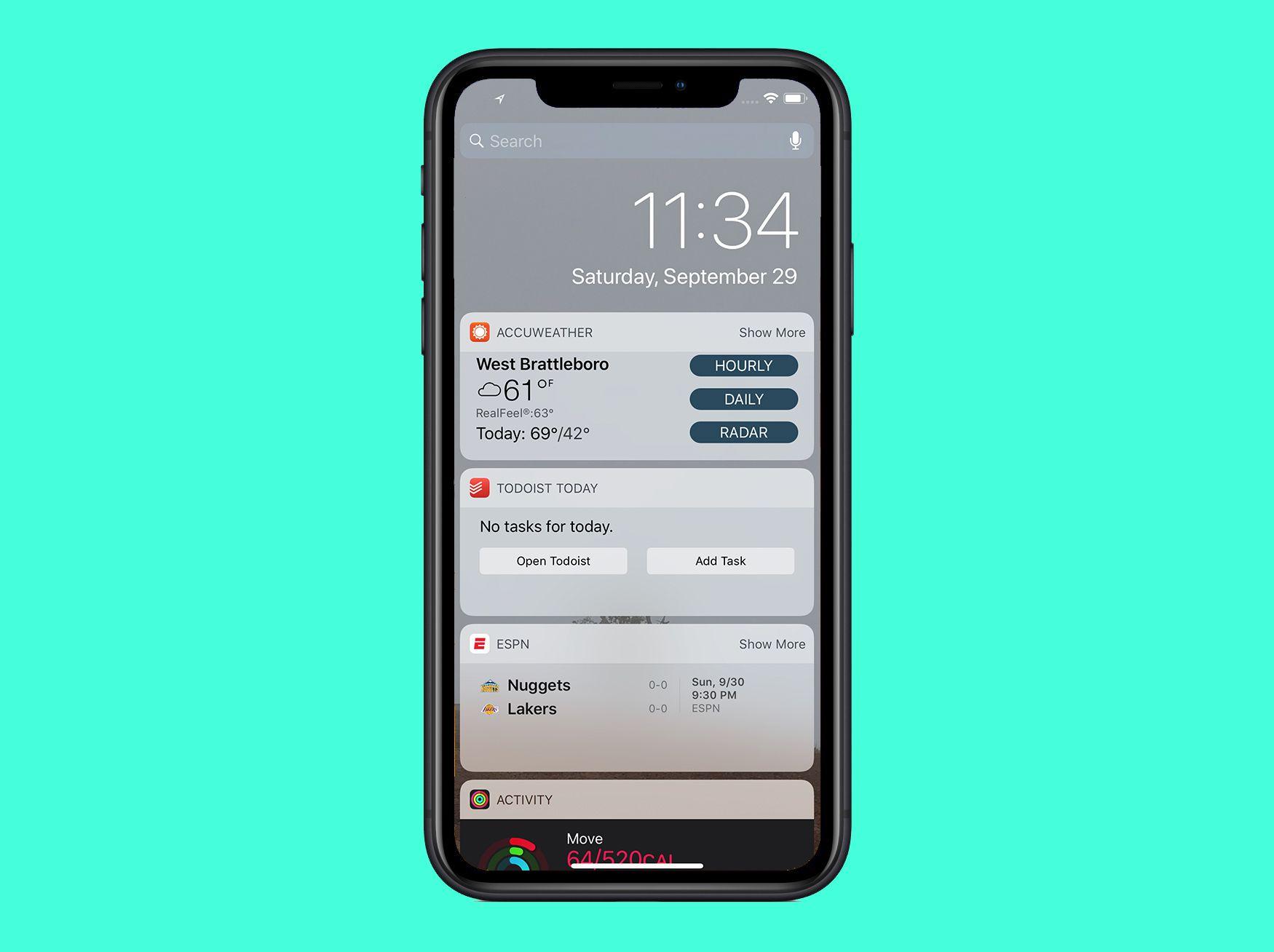 iPhone Notification Center widgets