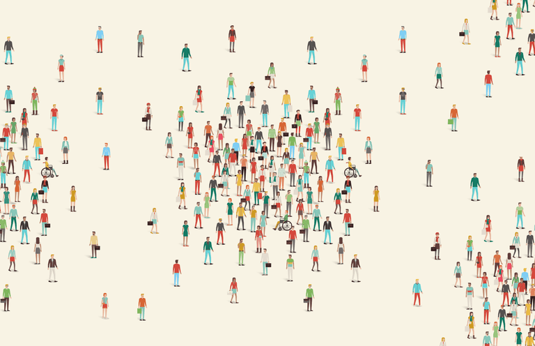 Drawing of a crowd of people
