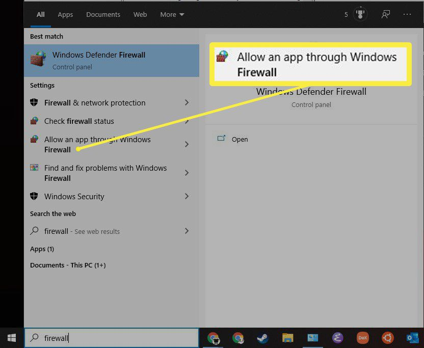 The Windows Defender Firewall Entry in the Start Menu.