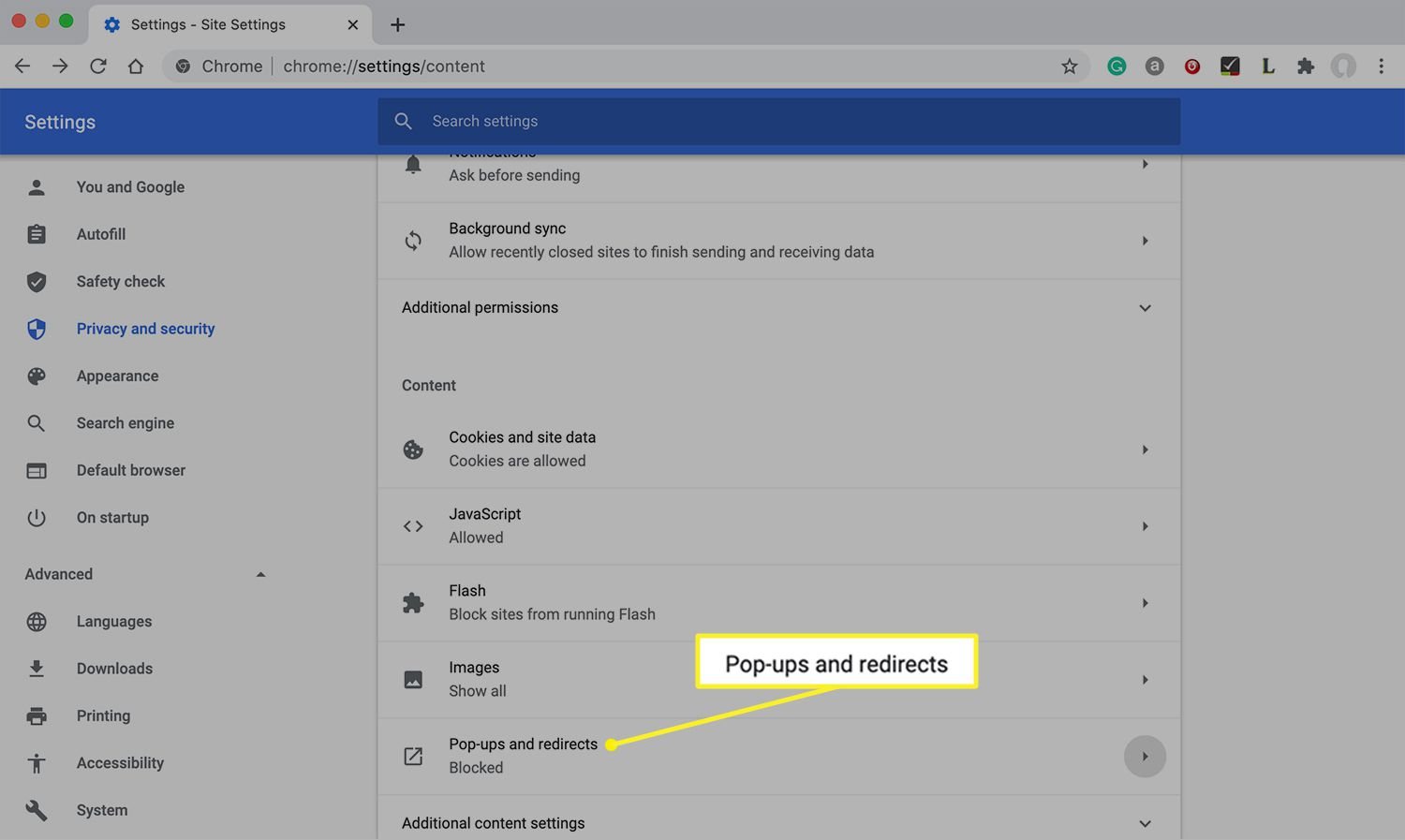 Pop-ups and redirects highlighted in Chrome settings