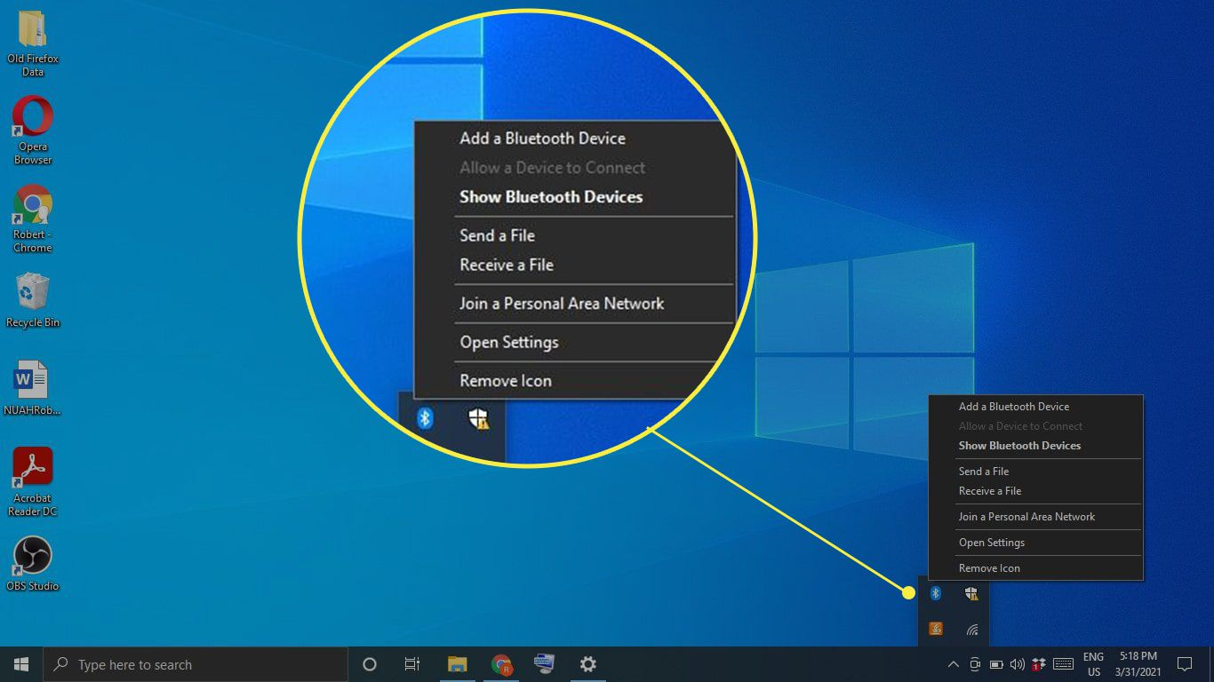 The Bluetooth icon in the Windows taskbar and its options highlighted