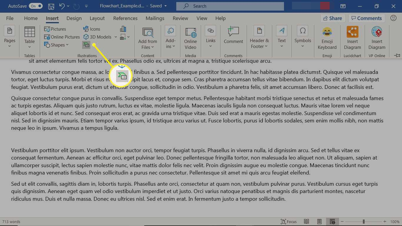The Word Insert tab with the SmartArt icon selected