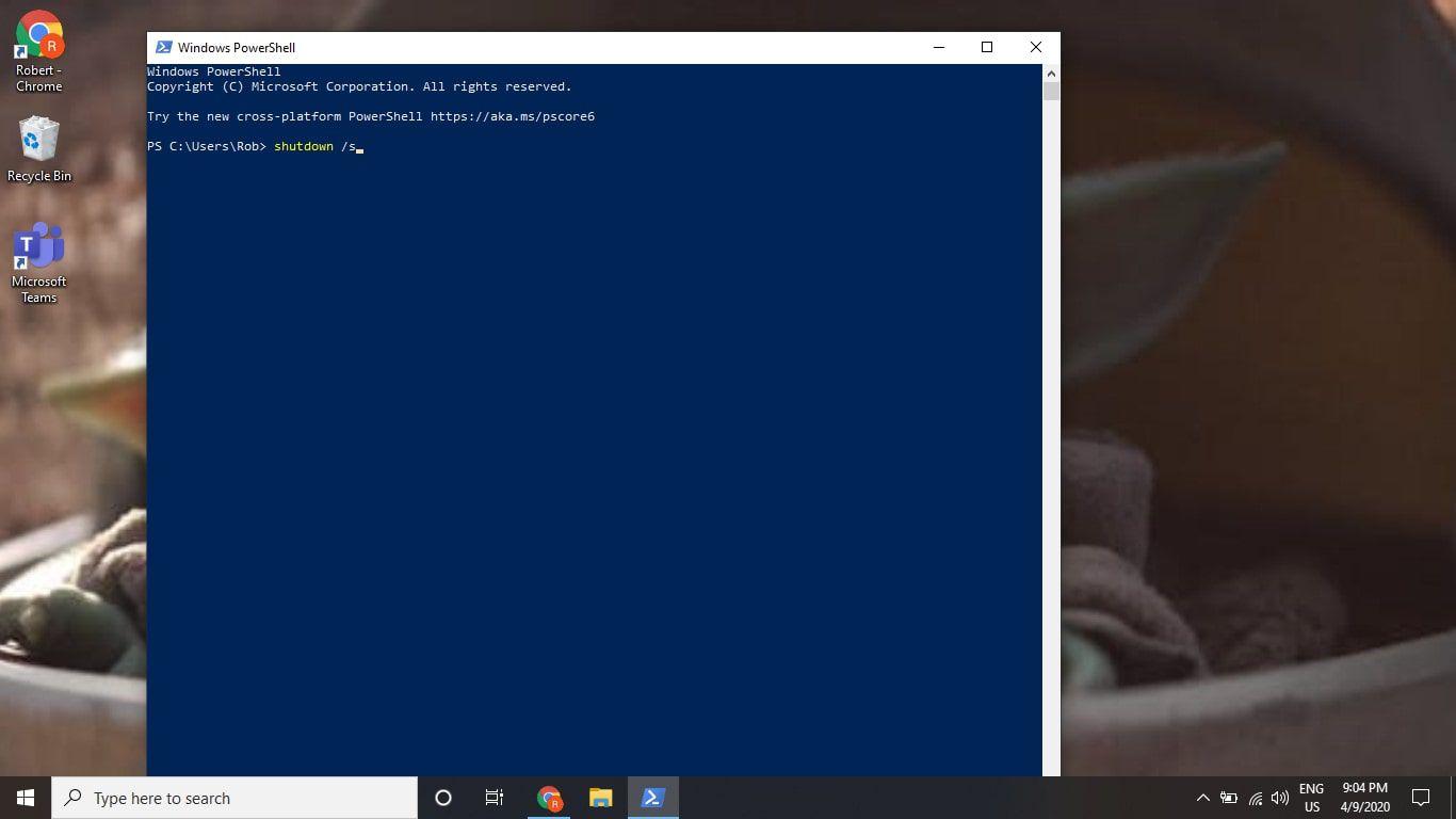 The shutdown /s command in the Windows 10 PowerShell