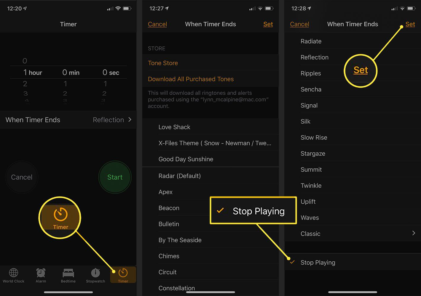 Timer, Stop Playing, and Set buttons in iOS Clock app