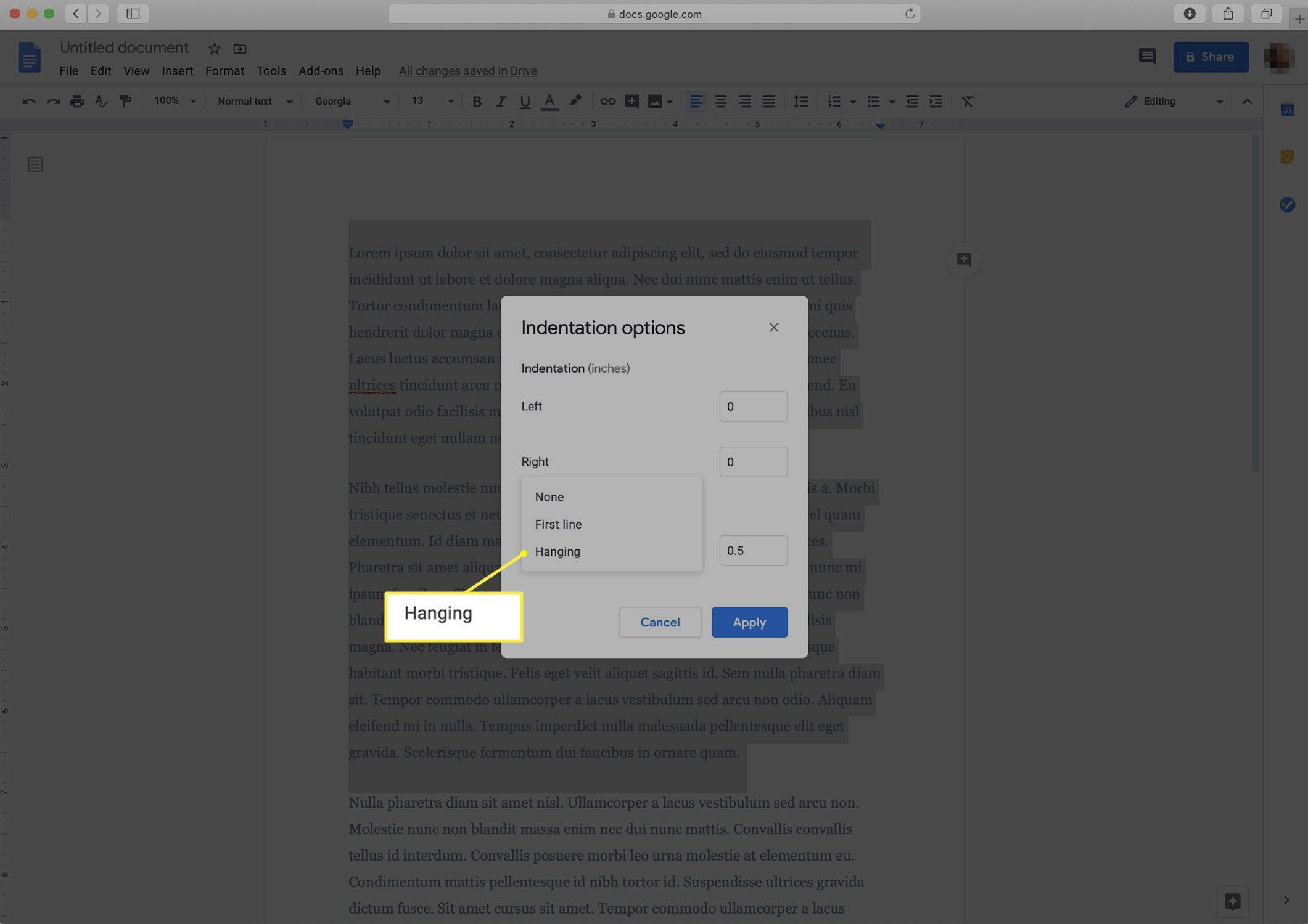 Hanging indent options